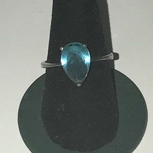Blue Topaz Faceted Stone Sterling Ring size 7.5